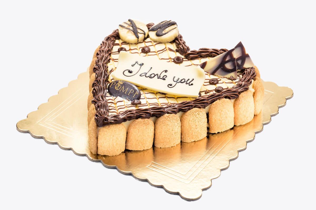 Torta Cuore Tiramisu Banana e Cioccolato